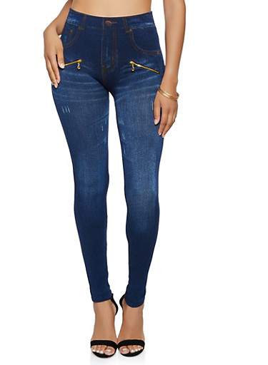 Jean Print Denim Knit Leggings,BLUE,large