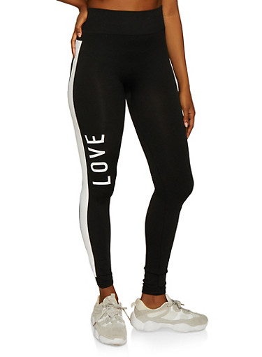 Love Contrast Stripe Leggings,BLACK,large