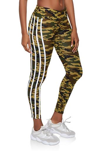 Camo Varsity Stripe Leggings,BROWN,large