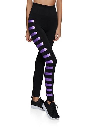 Foiled Stripe Detail Leggings,LAVENDER,large