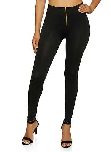 Zip Front Leggings,BLACK,large