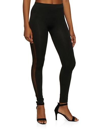 Laser Cut Detail Leggings,BLACK,large