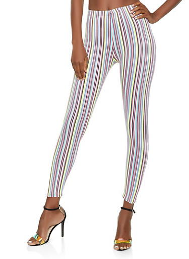 Neon Striped Leggings,NEON YELLOW,large