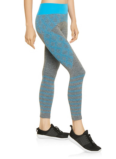 Geometric Print Leggings,BLUE,large