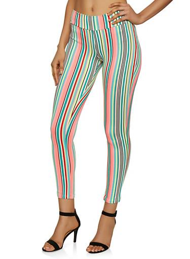 Neon Striped Soft Knit Leggings,NEON PINK,large