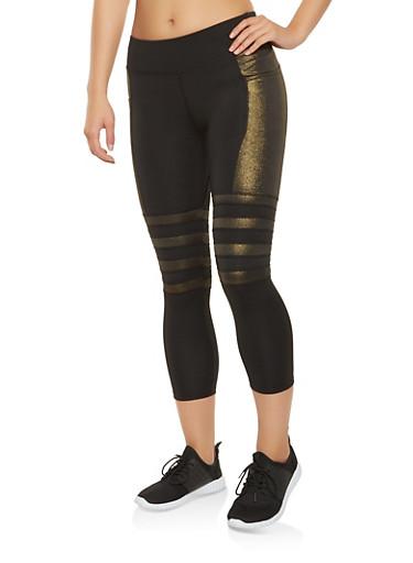 Shimmer Detail Cropped Leggings,BLACK,large