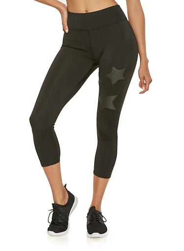 Shimmer Star Cropped Leggings,BLACK,large