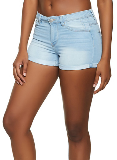 Almost Famous Cuffed Jean Shorts,LIGHT WASH,large