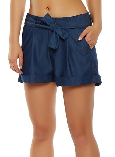 Belted Chambray Shorts,DARK WASH,large