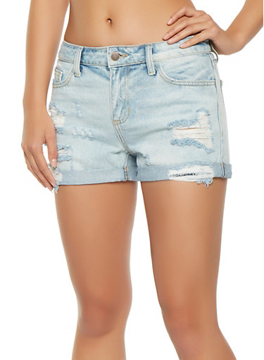 Cello Destroyed Denim Cuffed Shorts,LIGHT WASH,large