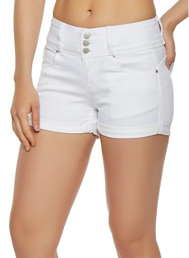 WAX 3 Button Push Up Shorts,WHITE,large