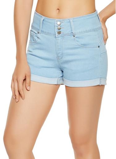 WAX Push Up Denim Shorts,LIGHT WASH,large