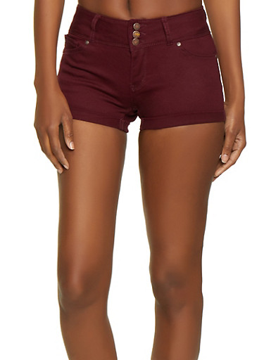 WAX 3 Button Push Up Shorts,BURGUNDY,large