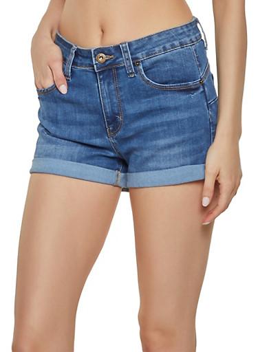 WAX Fixed Cuff Push Up Jean Shorts,MEDIUM WASH,large