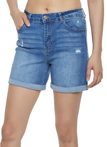 WAX Fixed Cuff Denim Shorts,MEDIUM WASH,large