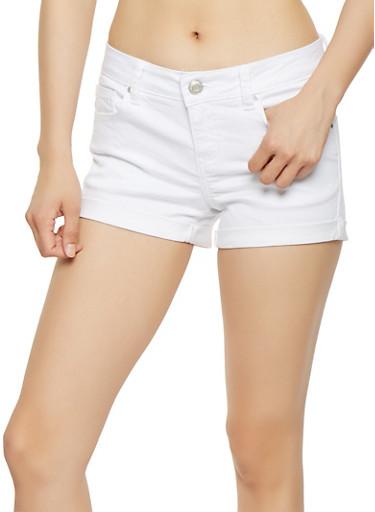WAX Push Up Stretch Denim Shorts,WHITE,large