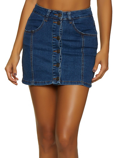 Almost Famous Button Front Mini Jean Skirt,DARK WASH,large