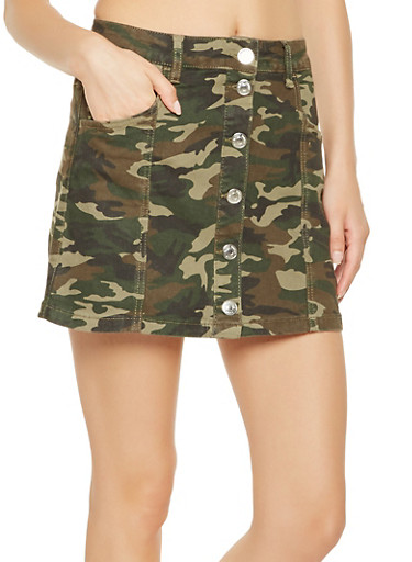 Almost Famous Camo Button Front Skirt,OLIVE,large