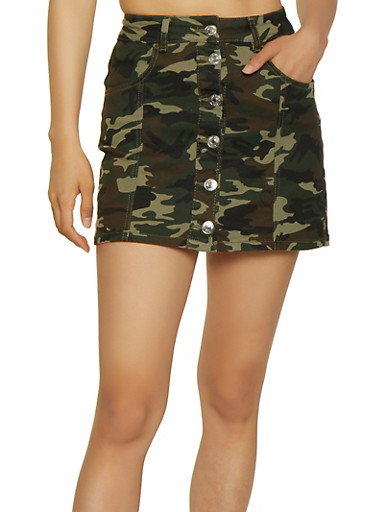 Almost Famous Button Front Camo Mini Skirt,OLIVE,large