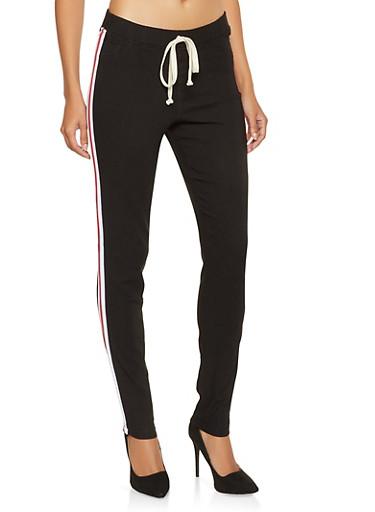 Striped Tape Trim Hyperstretch Pants,BLACK,large