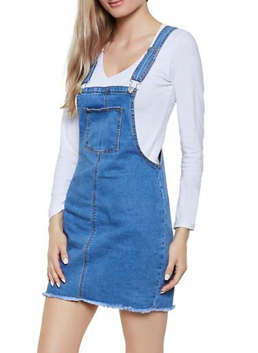 Mini Denim Overall Dress,MEDIUM WASH,large
