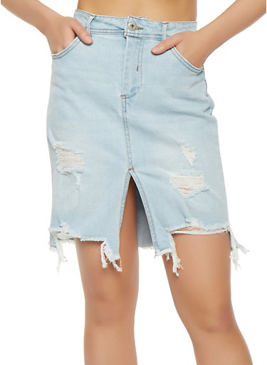 Highway Distressed Denim Skirt,LIGHT WASH,large