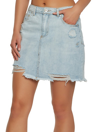 Highway Distressed Denim Mini Skirt,LIGHT WASH,large