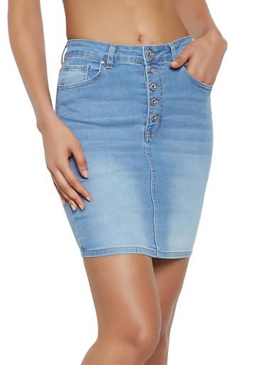 WAX Button Front Denim Pencil Skirt,LIGHT WASH,large