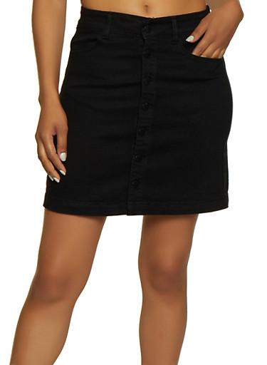 WAX Button Front Denim Skater Skirt,BLACK,large