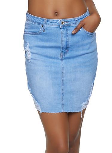 WAX Distressed Denim Skirt,LIGHT WASH,large