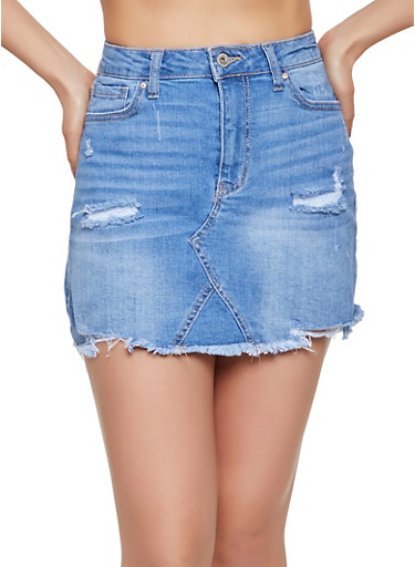WAX Frayed Hem Jean Skirt,LIGHT WASH,large