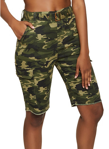 Almost Famous Camo Cargo Bermuda Shorts,OLIVE,large