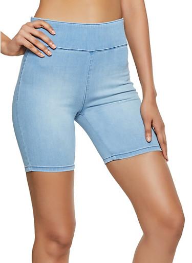 Almost Famous Denim Bike Shorts,LIGHT WASH,large