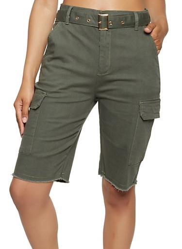 Frayed Hem Belted Cargo Bermuda Shorts,OLIVE,large