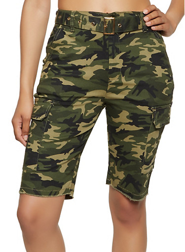 Almost Famous Belted Camo Cargo Shorts,OLIVE,large