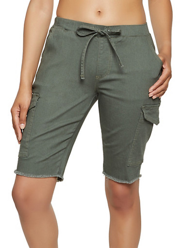 Cargo Stretch Bermuda Shorts,OLIVE,large