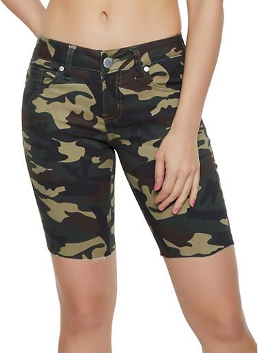 VIP Camo Raw Hem Stretch Bermuda Shorts,OLIVE,large