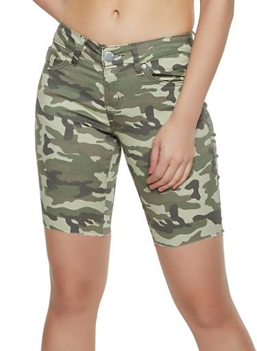 VIP Camo Raw Hem Bermuda Shorts,OLIVE,large