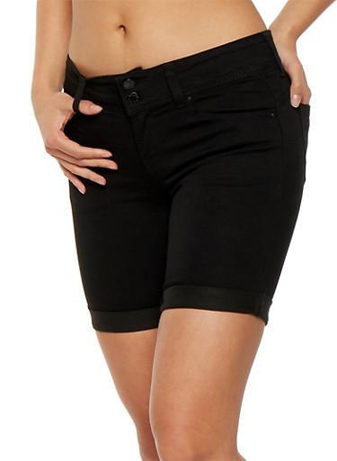WAX 2 Button Denim Bermuda Shorts,BLACK,large