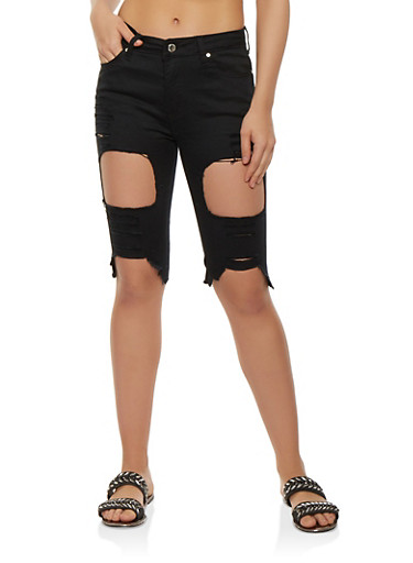 Ripped Denim Bermuda Shorts,BLACK,large