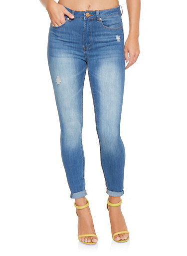 Almost Famous High Waisted Distressed Jeans,LIGHT WASH,large