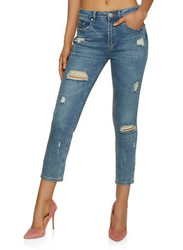 Almost Famous Cropped Mom Jeans,MEDIUM WASH,large