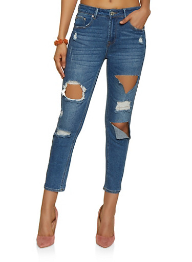 Almost Famous Destroyed Jeans,MEDIUM WASH,large