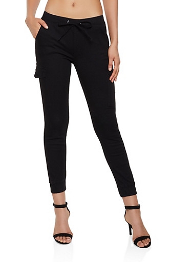 Solid Twill Cargo Joggers,BLACK,large