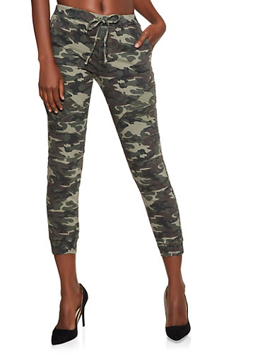 Almost Famous Moto Camo Denim Joggers,OLIVE,large