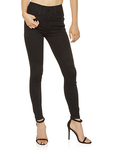 Almost Famous High Waisted Skinny Jeans,BLACK,large