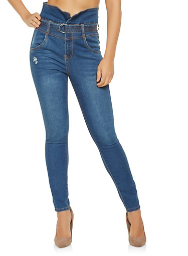 Almost Famous Belted High Waisted Jeans,MEDIUM WASH,large
