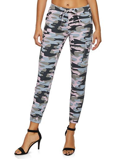 Almost Famous Camo Cargo Joggers,BLUSH,large
