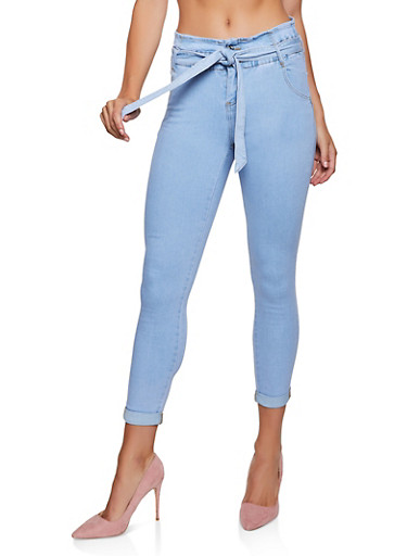 Almost Famous Paper Bag Waist Skinny Jeans,LIGHT WASH,large