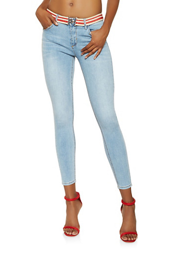 Almost Famous Belted Skinny Jeans,LIGHT WASH,large